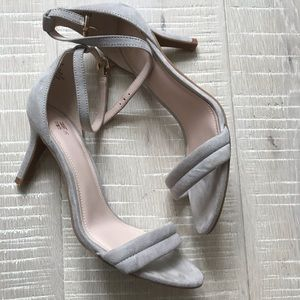 H&M ankle strap sandal heels in gray suede